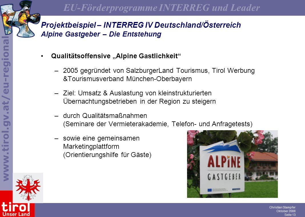 Projektbeispiel – INTERREG IV Deutschland/Österreich Alpine Gastgeber – Die Entstehung