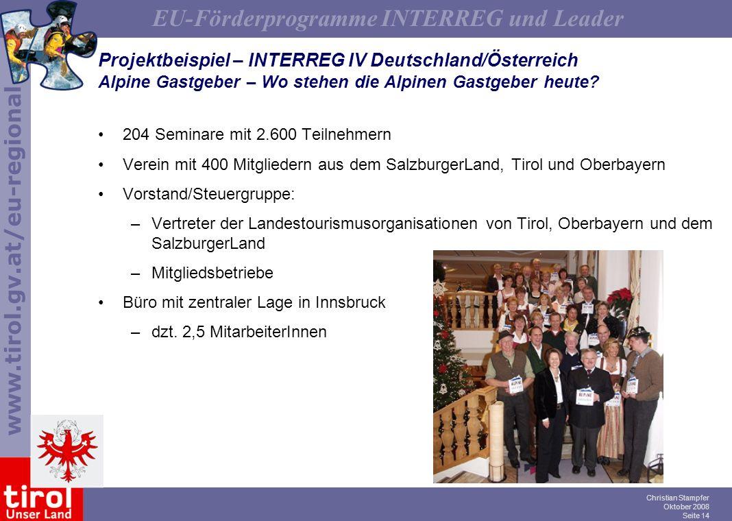 Projektbeispiel – INTERREG IV Deutschland/Österreich Alpine Gastgeber – Wo stehen die Alpinen Gastgeber heute