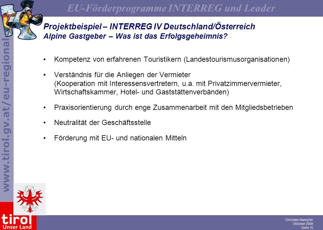 Projektbeispiel – INTERREG IV Deutschland/Österreich Alpine Gastgeber – Was ist das Erfolgsgeheimnis