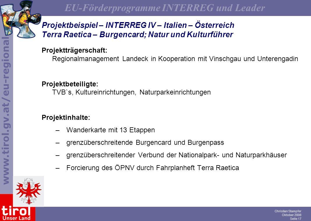Projektbeispiel – INTERREG IV – Italien – Österreich Terra Raetica – Burgencard; Natur und Kulturführer