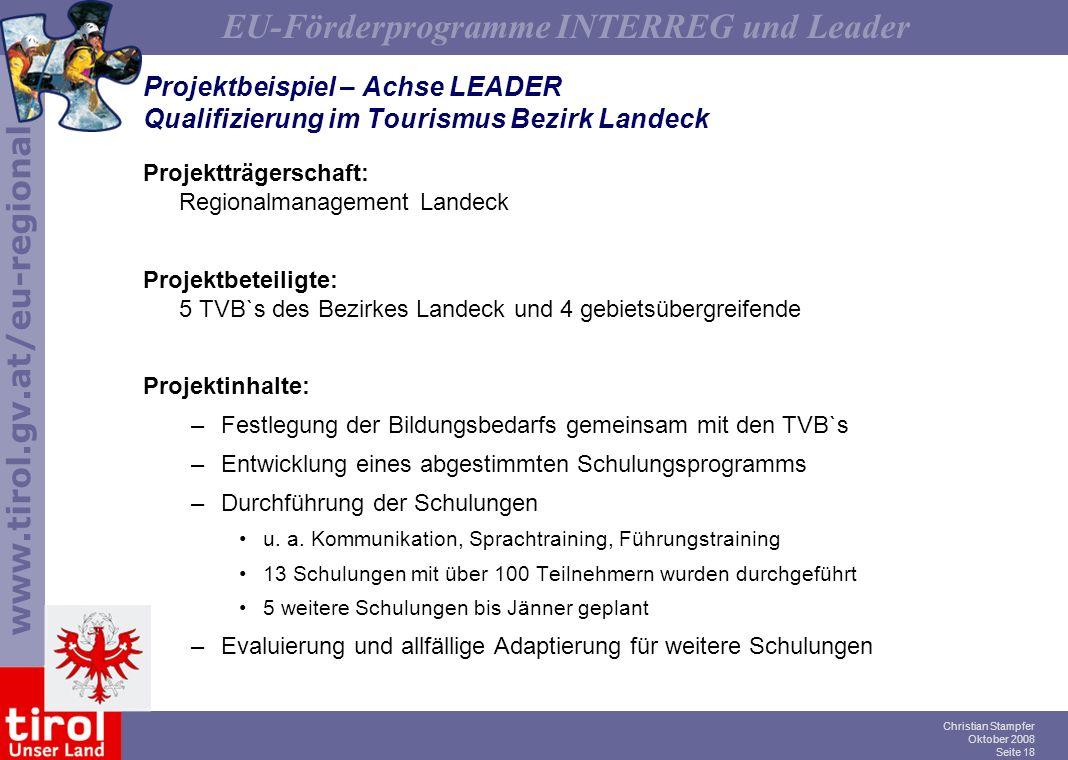Projektbeispiel – Achse LEADER Qualifizierung im Tourismus Bezirk Landeck