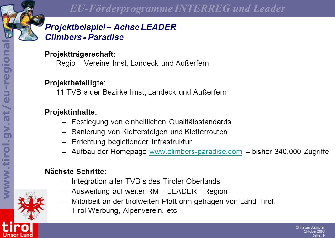 Projektbeispiel – Achse LEADER Climbers - Paradise