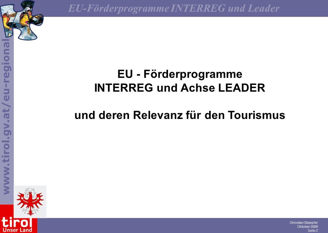 INTERREG und Achse LEADER und deren Relevanz für den Tourismus