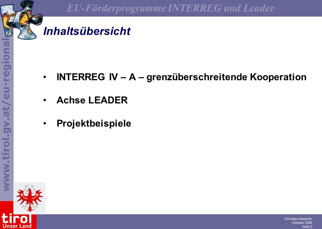 Inhaltsübersicht INTERREG IV – A – grenzüberschreitende Kooperation
