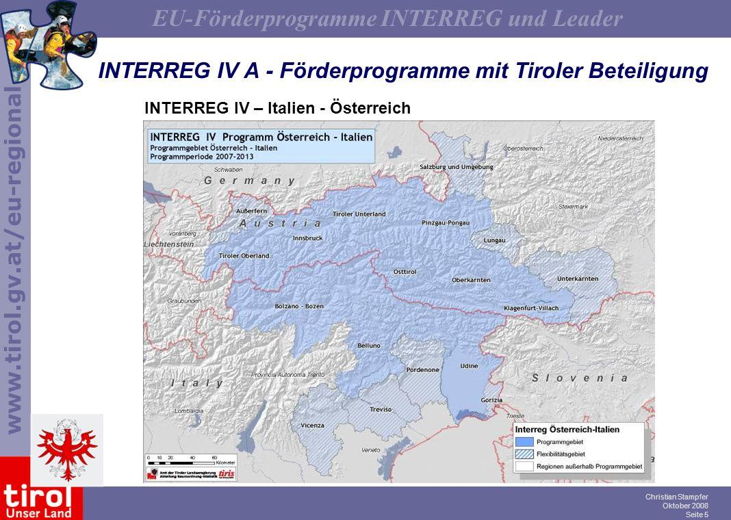 INTERREG IV A - Förderprogramme mit Tiroler Beteiligung