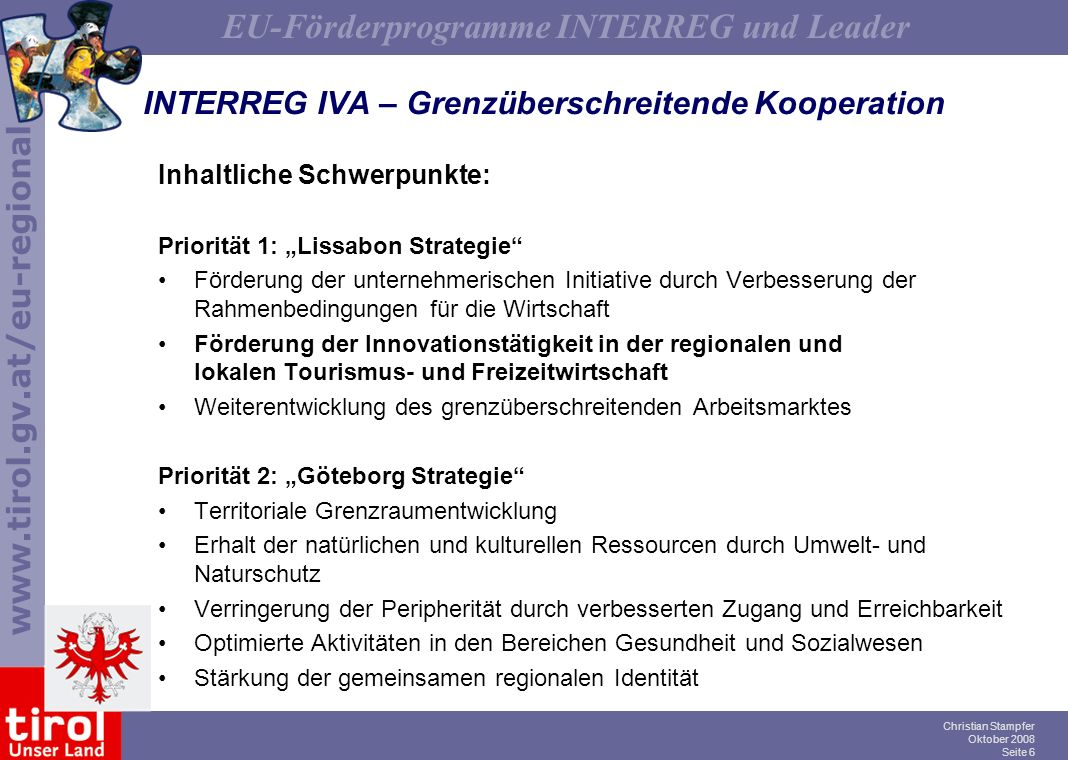 INTERREG IVA – Grenzüberschreitende Kooperation