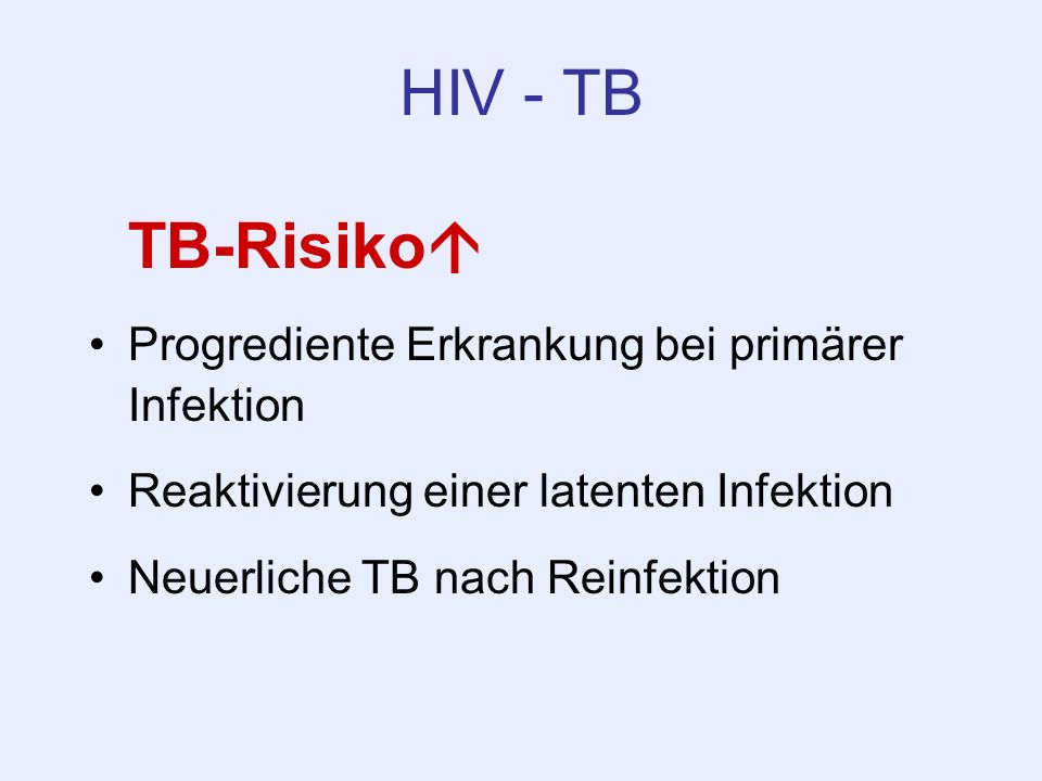 HIV - TB TB-Risiko Progrediente Erkrankung bei primärer Infektion