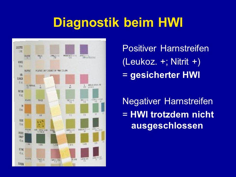 Diagnostik beim HWI Positiver Harnstreifen (Leukoz. +; Nitrit +)