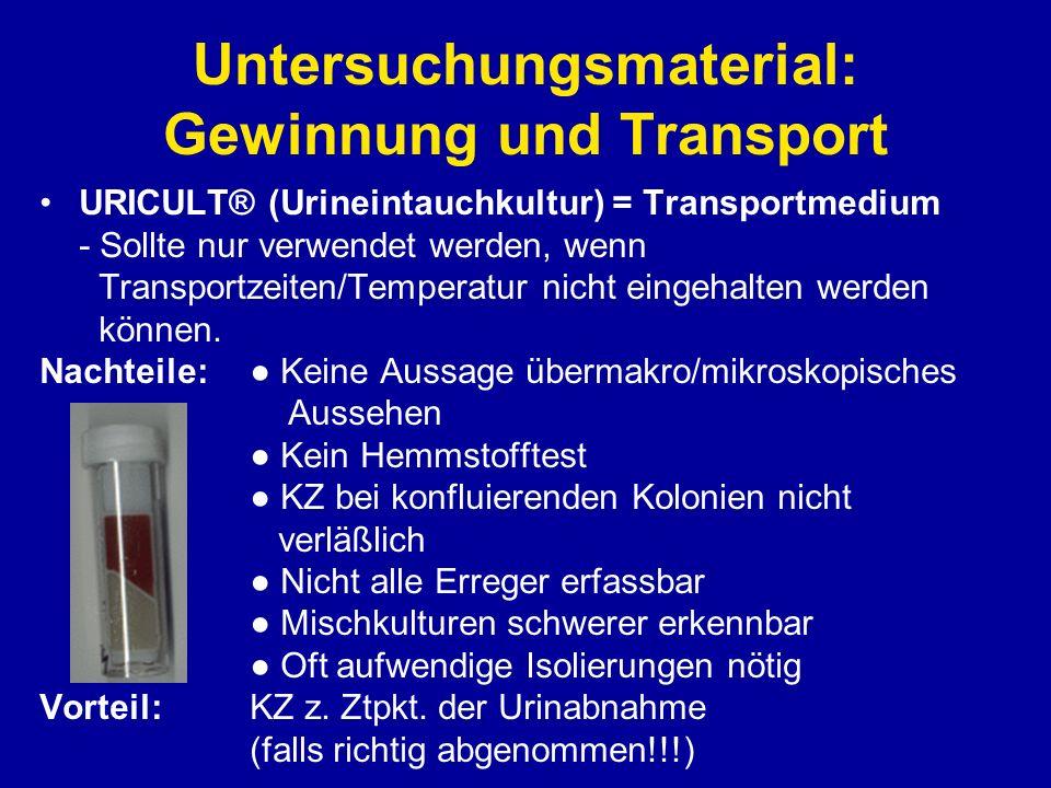 Untersuchungsmaterial: Gewinnung und Transport