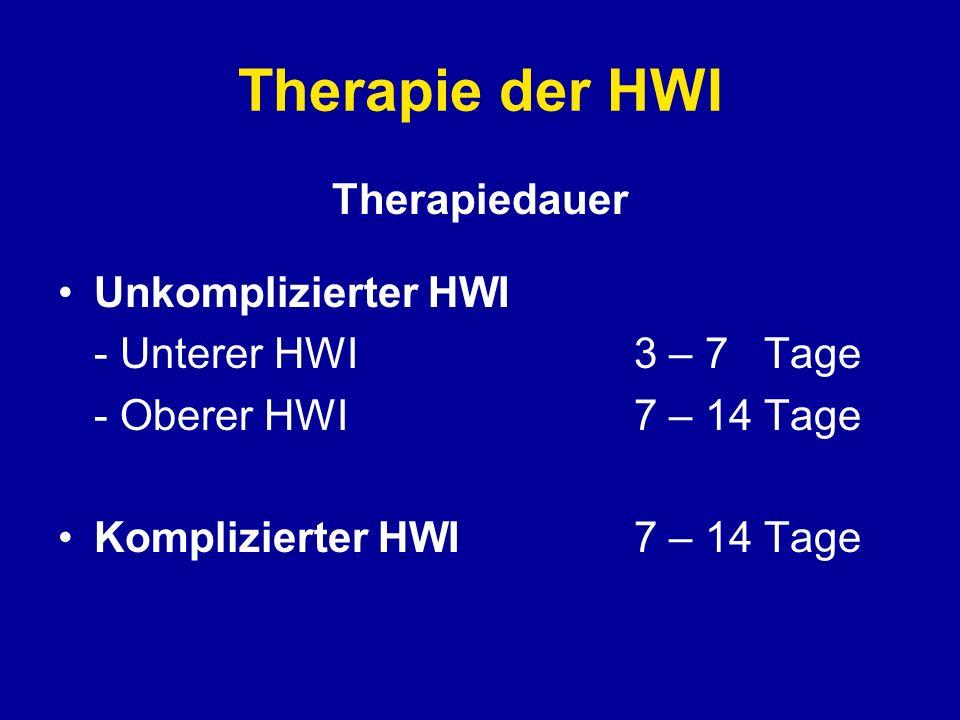 Therapie der HWI Therapiedauer Unkomplizierter HWI