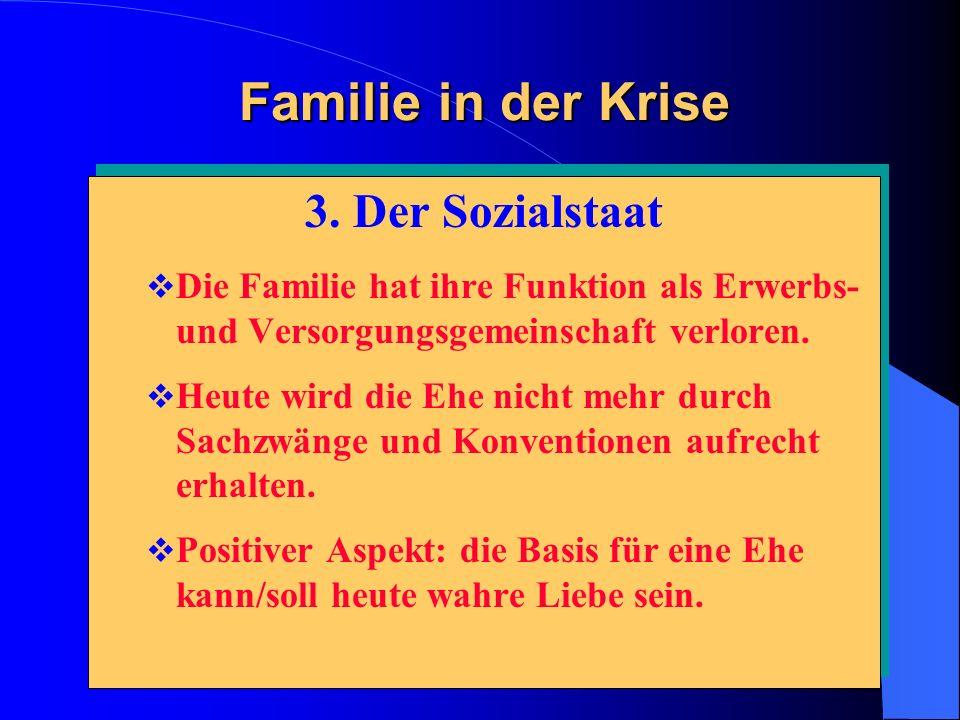 Familie in der Krise 3. Der Sozialstaat