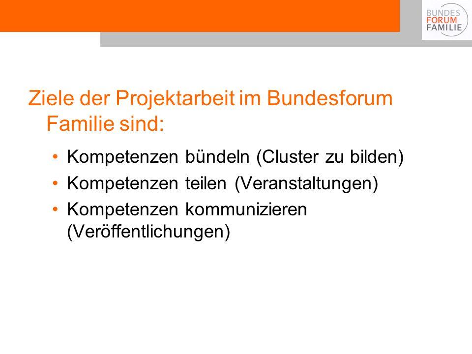 Ziele der Projektarbeit im Bundesforum Familie sind: