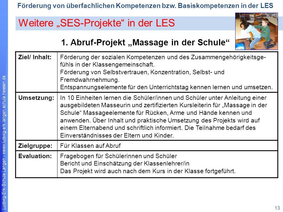 "1. Abruf-Projekt ""Massage in der Schule"
