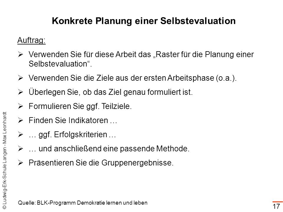 Konkrete Planung einer Selbstevaluation