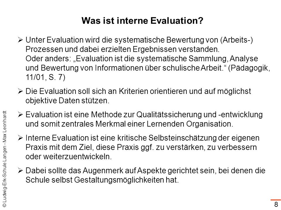 Was ist interne Evaluation