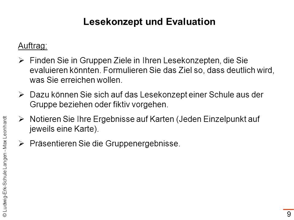 Lesekonzept und Evaluation