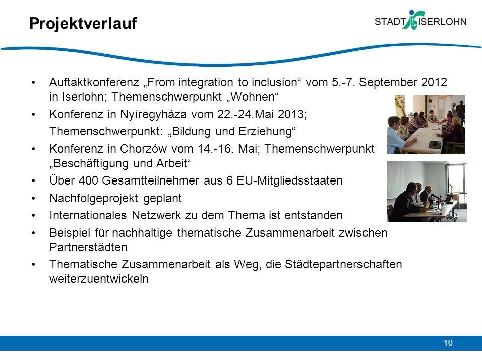 """Projektverlauf Auftaktkonferenz """"From integration to inclusion vom 5.-7. September 2012 in Iserlohn; Themenschwerpunkt """"Wohnen"""