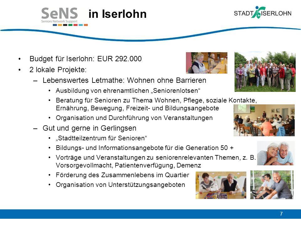 in Iserlohn Budget für Iserlohn: EUR 292.000 2 lokale Projekte: