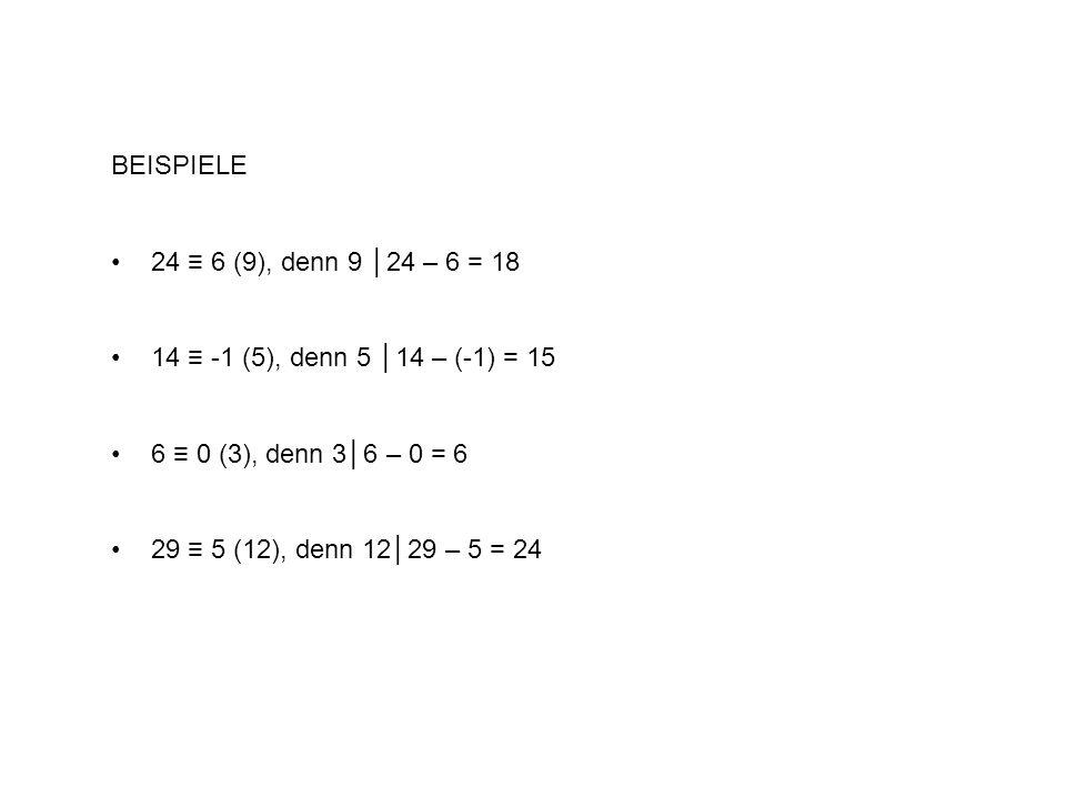 BEISPIELE 24 ≡ 6 (9), denn 9 │24 – 6 = 18. 14 ≡ -1 (5), denn 5 │14 – (-1) = 15. 6 ≡ 0 (3), denn 3│6 – 0 = 6.