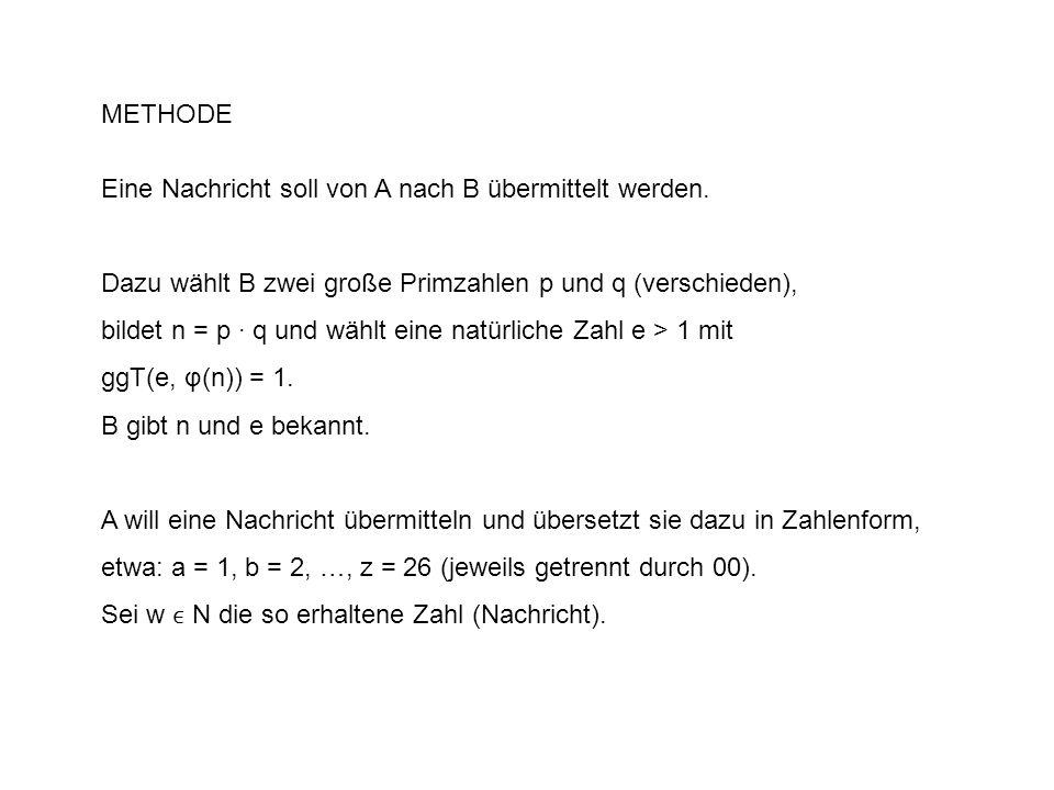 METHODE Eine Nachricht soll von A nach B übermittelt werden. Dazu wählt B zwei große Primzahlen p und q (verschieden),