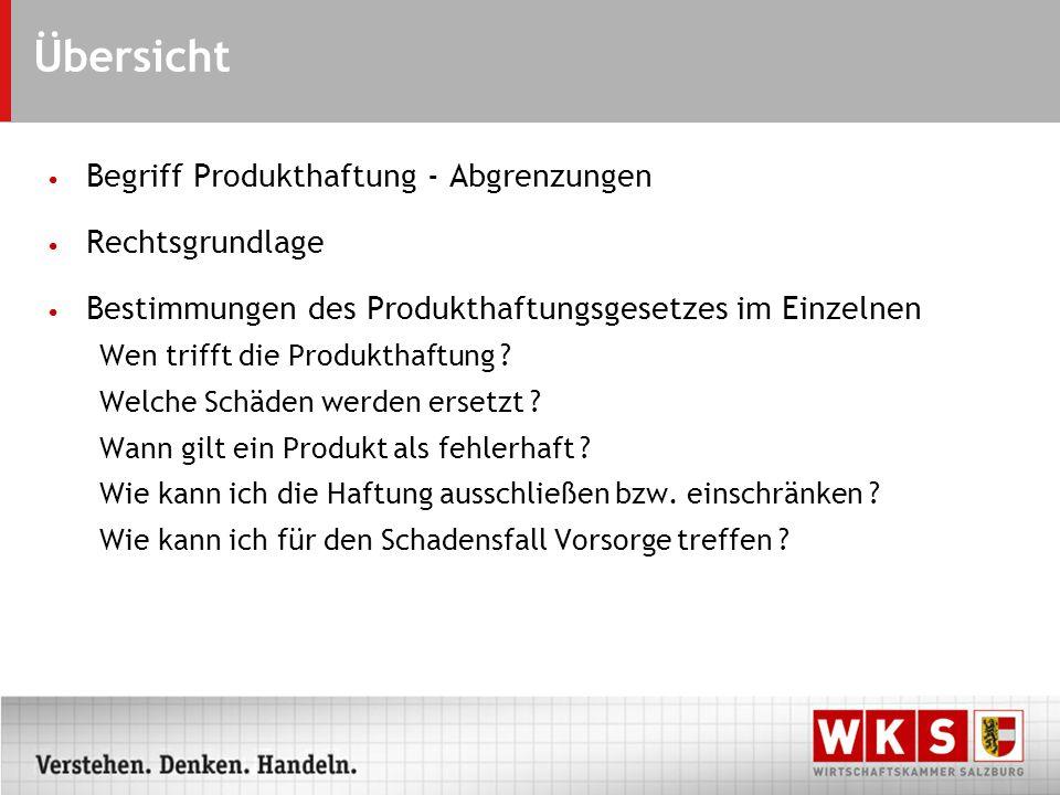 Übersicht Begriff Produkthaftung - Abgrenzungen Rechtsgrundlage