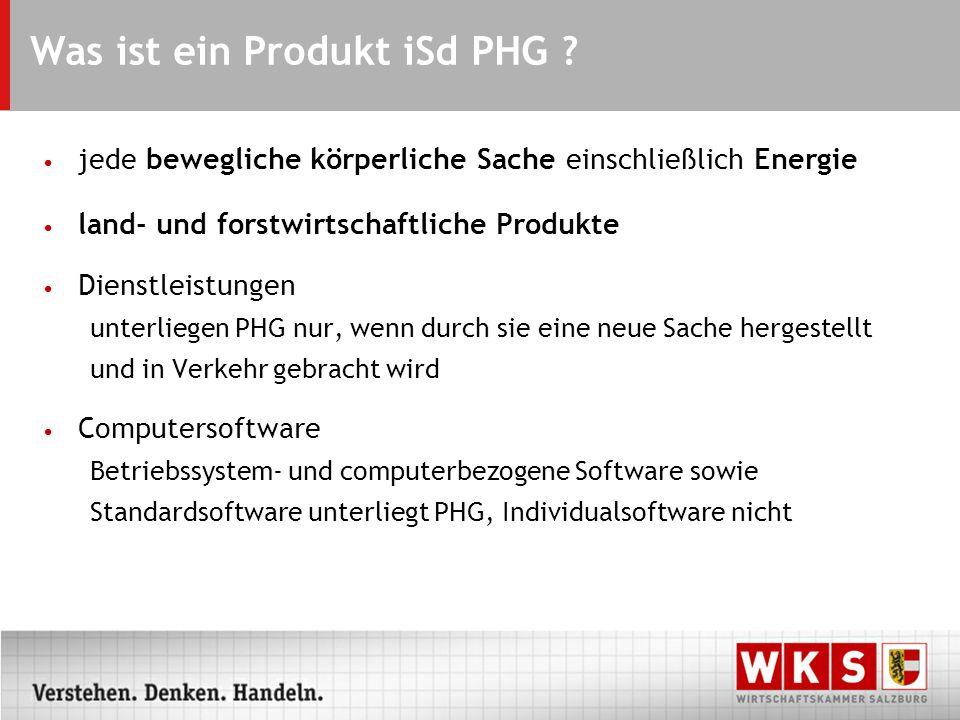 Was ist ein Produkt iSd PHG