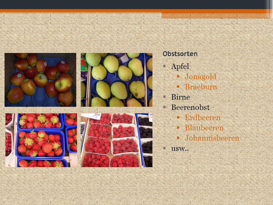 Apfel Jonagold Braeburn Birne Beerenobst Erdbeeren Blaubeeren