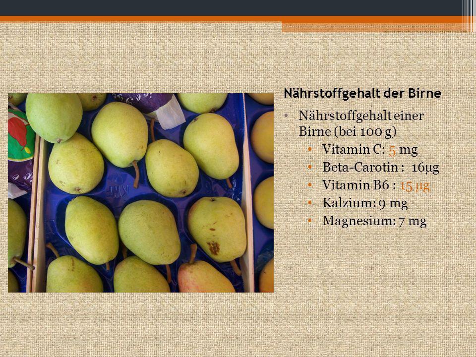 Nährstoffgehalt der Birne