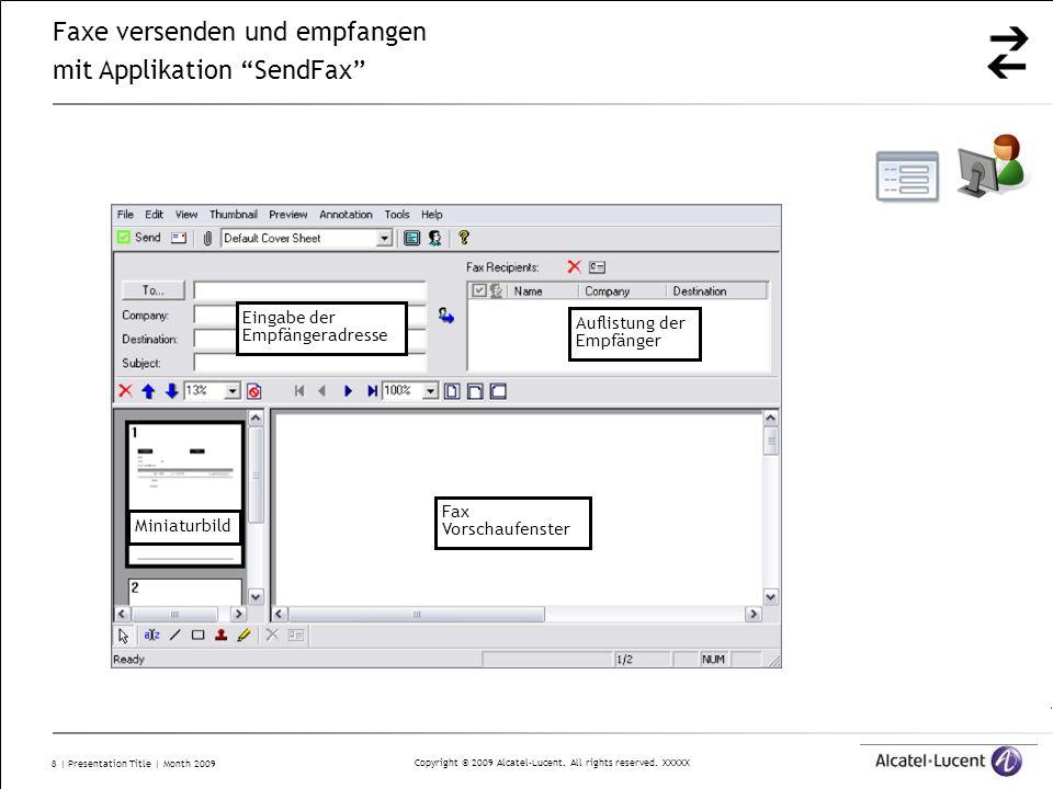 Faxe versenden und empfangen mit Applikation SendFax