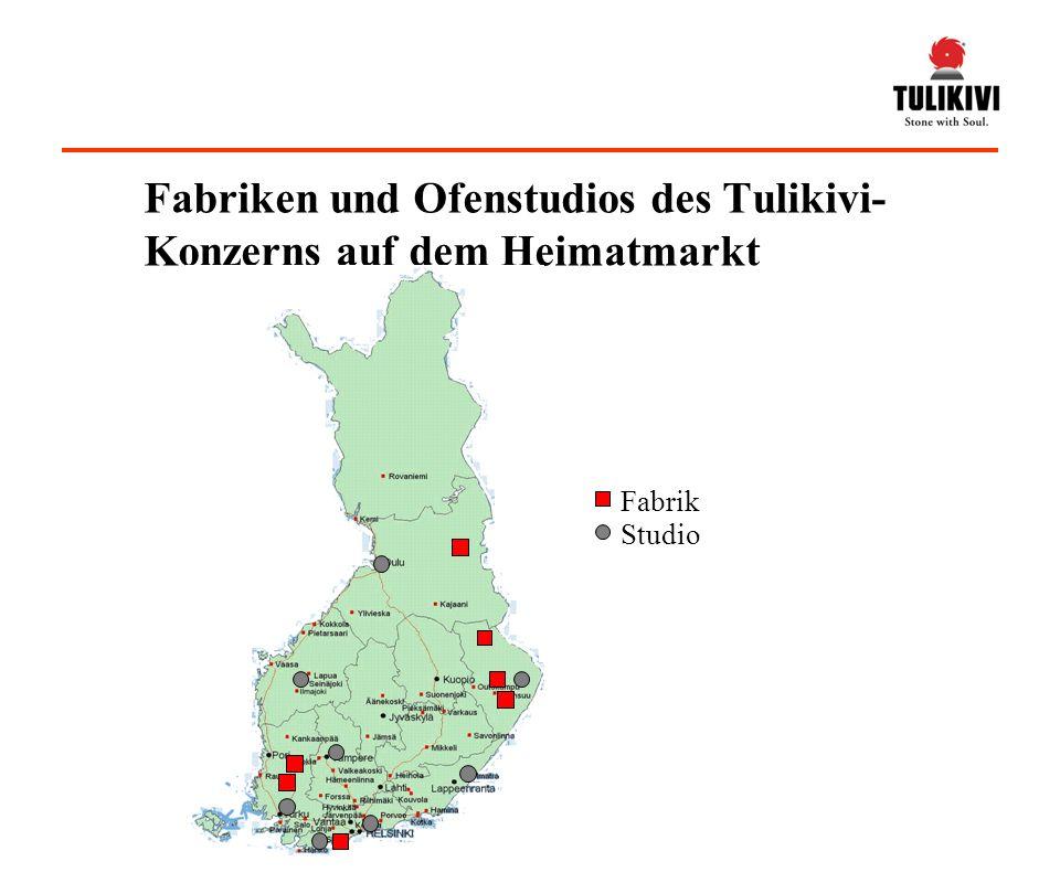 Fabriken und Ofenstudios des Tulikivi-Konzerns auf dem Heimatmarkt
