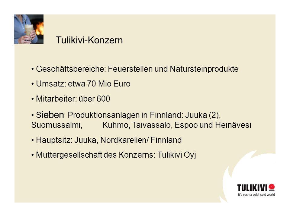 Tulikivi-Konzern Geschäftsbereiche: Feuerstellen und Natursteinprodukte. Umsatz: etwa 70 Mio Euro.