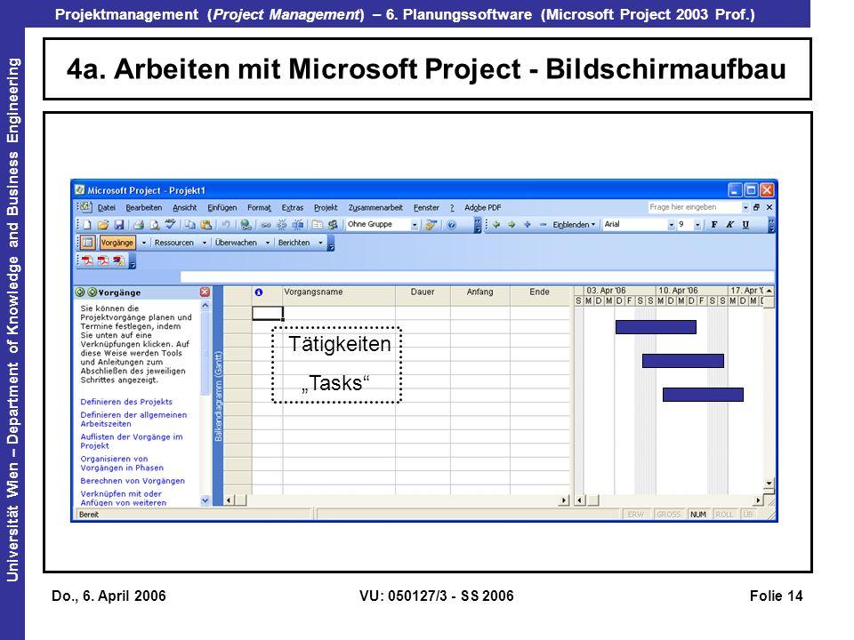4a. Arbeiten mit Microsoft Project - Bildschirmaufbau