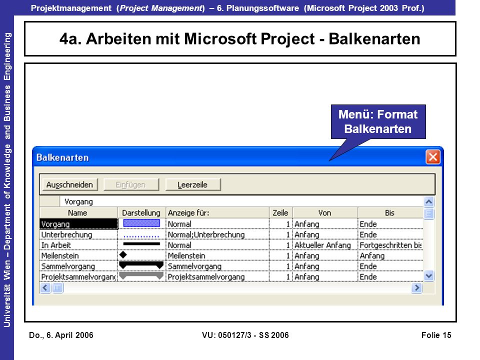4a. Arbeiten mit Microsoft Project - Balkenarten