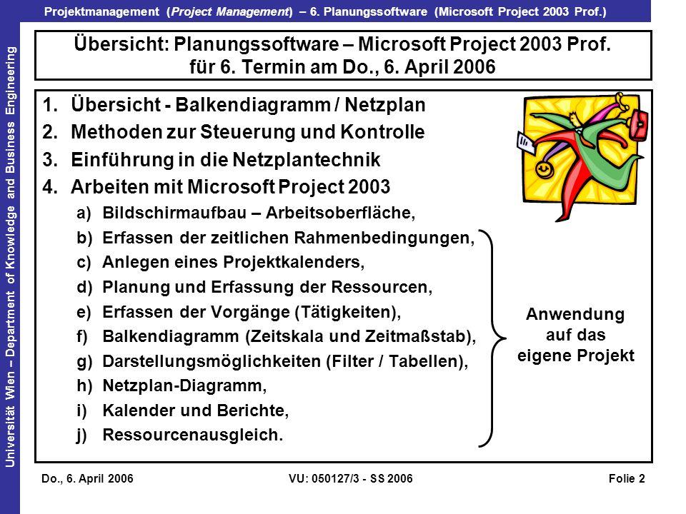 Übersicht - Balkendiagramm / Netzplan