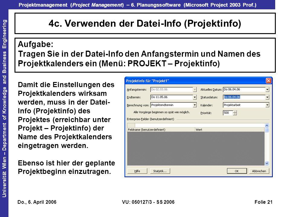 4c. Verwenden der Datei-Info (Projektinfo)