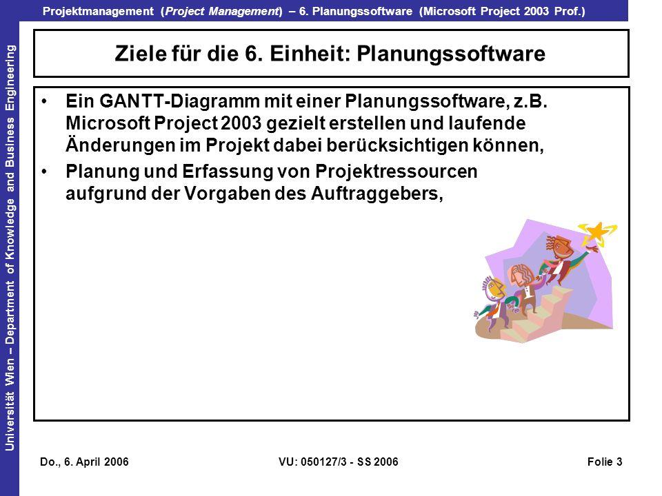Ziele für die 6. Einheit: Planungssoftware