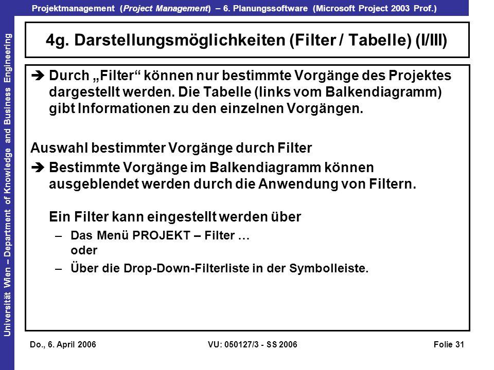 4g. Darstellungsmöglichkeiten (Filter / Tabelle) (I/III)