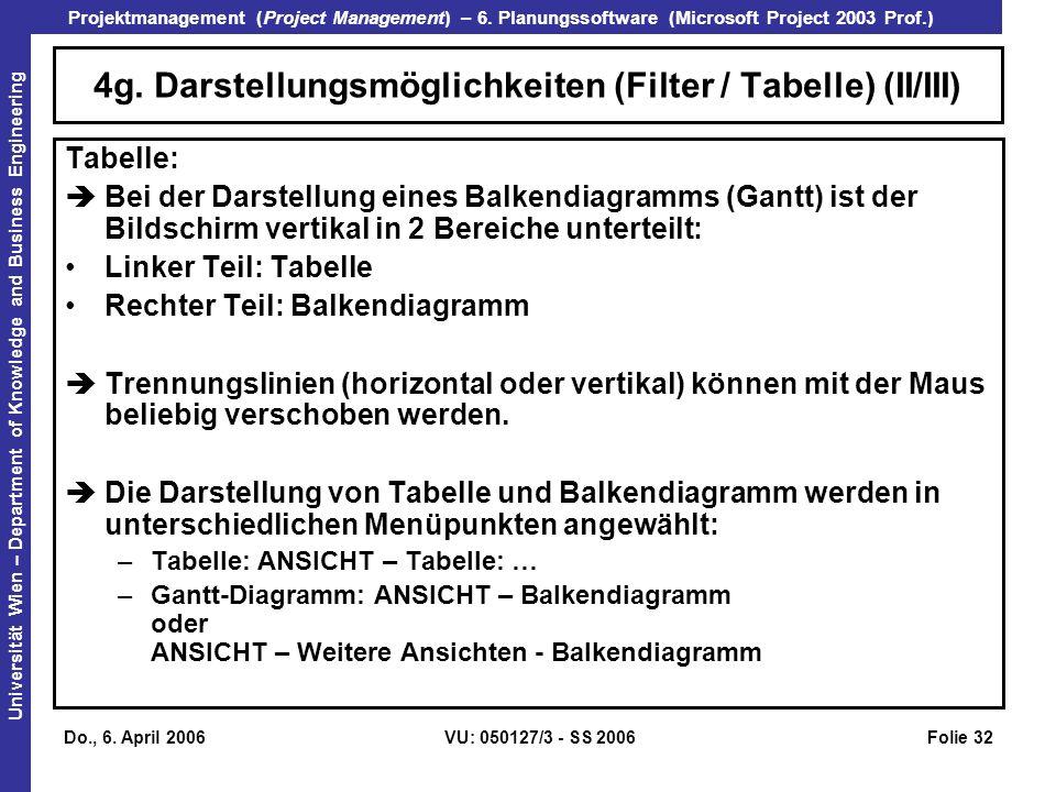 4g. Darstellungsmöglichkeiten (Filter / Tabelle) (II/III)