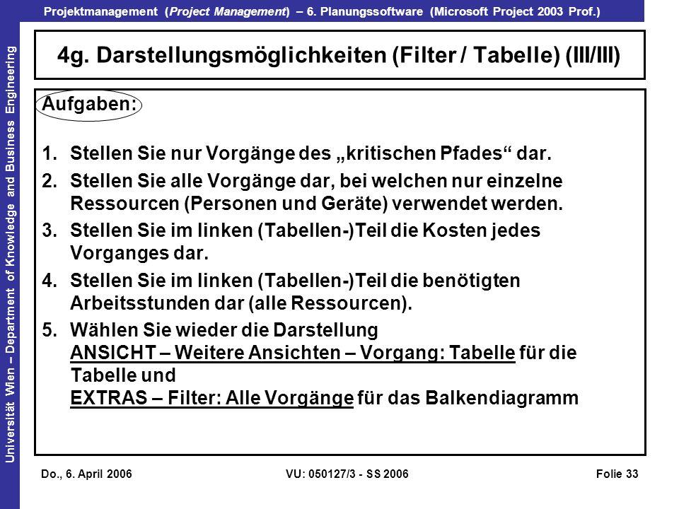 4g. Darstellungsmöglichkeiten (Filter / Tabelle) (III/III)