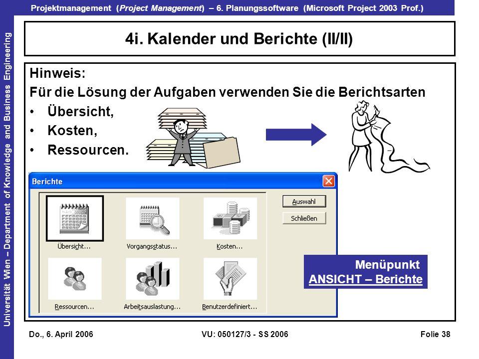 4i. Kalender und Berichte (II/II)