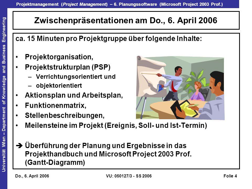 Zwischenpräsentationen am Do., 6. April 2006