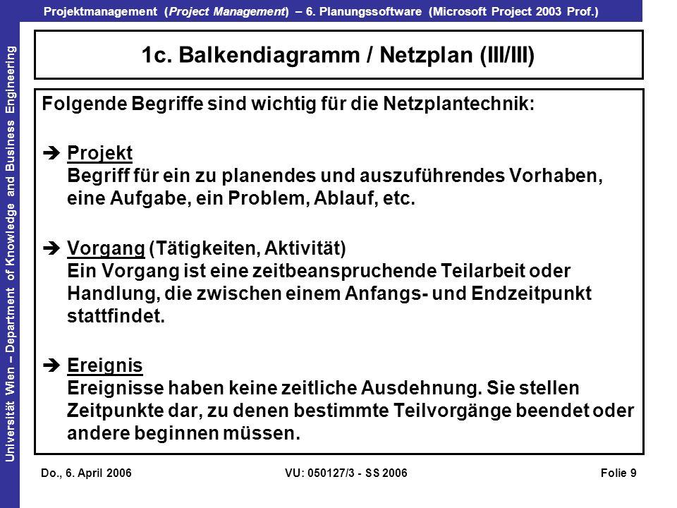 1c. Balkendiagramm / Netzplan (III/III)