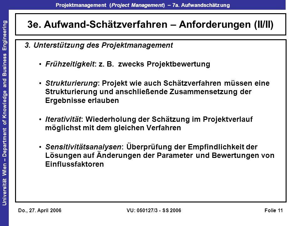 3e. Aufwand-Schätzverfahren – Anforderungen (II/II)