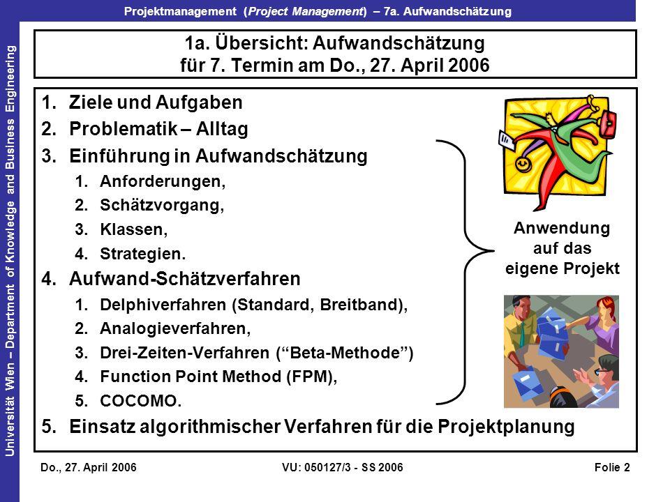 1a. Übersicht: Aufwandschätzung für 7. Termin am Do., 27. April 2006