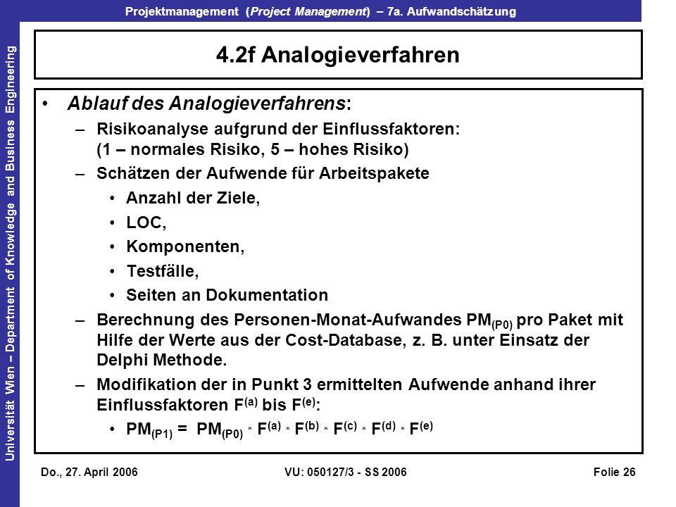 4.2f Analogieverfahren Ablauf des Analogieverfahrens: