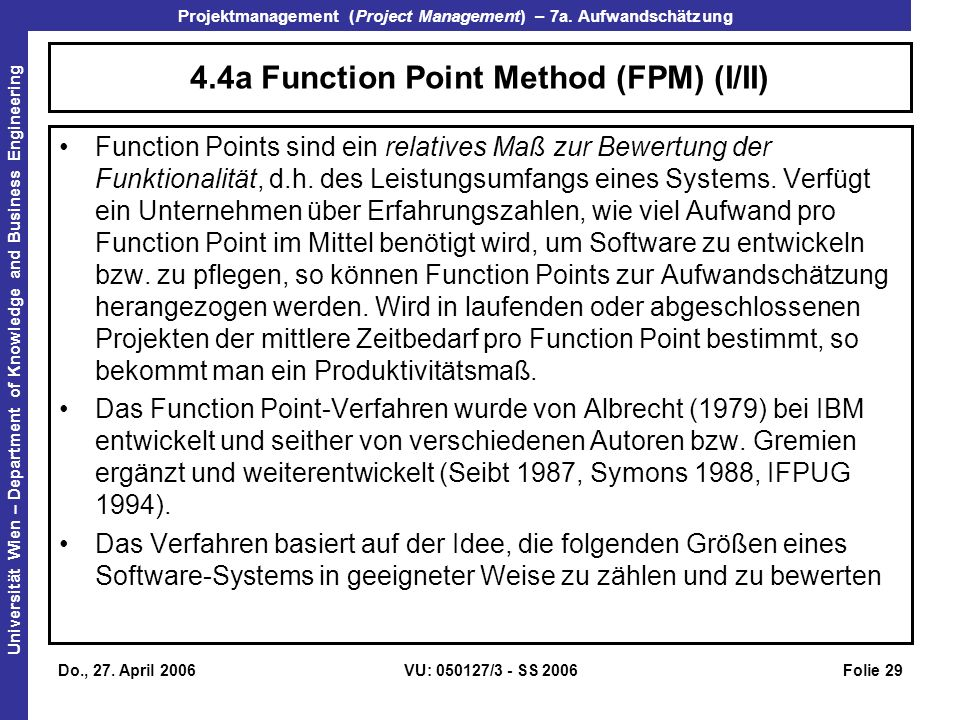 4.4a Function Point Method (FPM) (I/II)