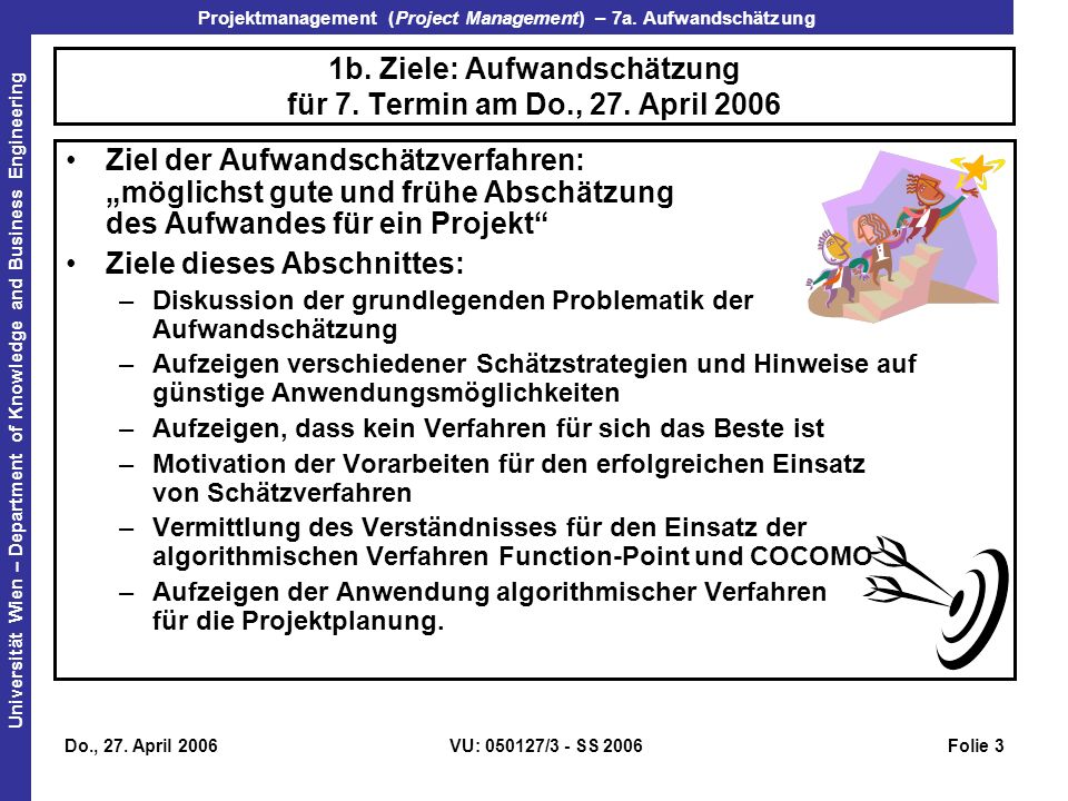1b. Ziele: Aufwandschätzung für 7. Termin am Do., 27. April 2006