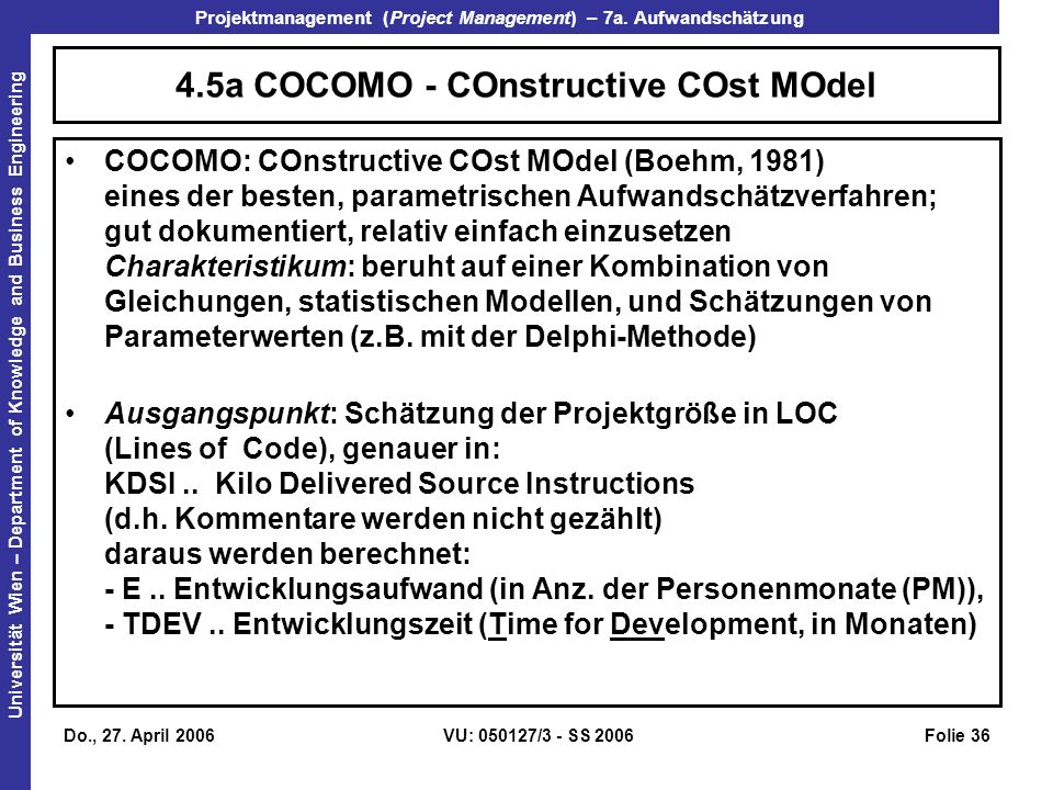 4.5a COCOMO - COnstructive COst MOdel