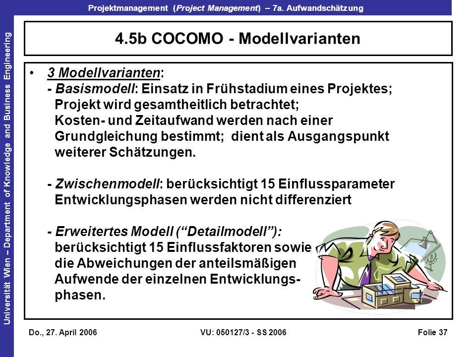 4.5b COCOMO - Modellvarianten