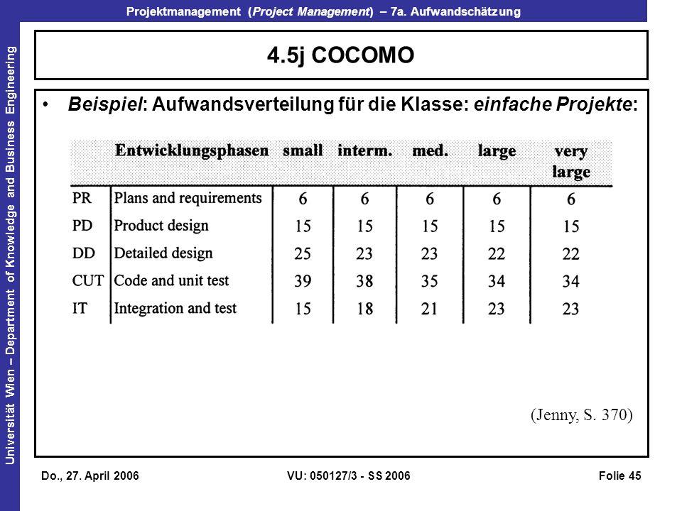 4.5j COCOMO Beispiel: Aufwandsverteilung für die Klasse: einfache Projekte: (Jenny, S. 370) Do., 27. April 2006.